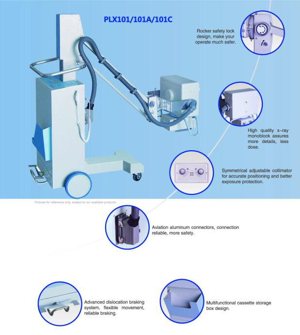 PLX101C High Frequency Mobile System X-ray Equipment With Flat Panel Detector