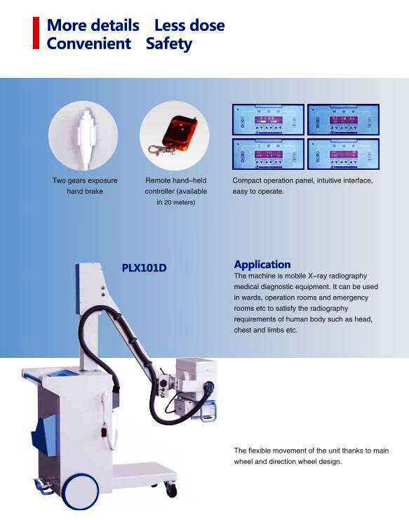 PLX101D Medical Equipment High Frequency Mobile Digital System X Ray Machine