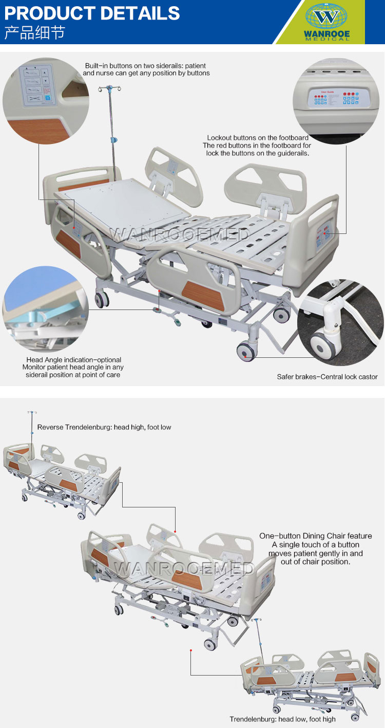 Adjustable Electric Hospital Bed, Patient Electric Bed, ICU Electric Bed, Hospital Electric Patient Bed, 5 Function Hospital Bed