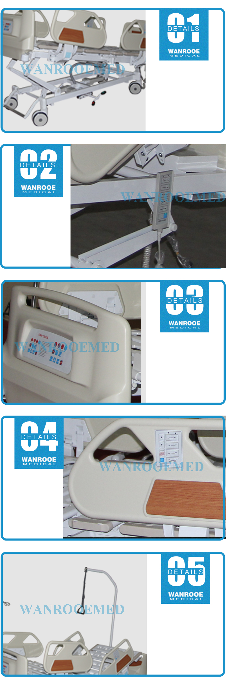 Five Function Hospital Bed, Electric Nursing Bed, Hospital Nursing Bed, Medical Electric Bed, Multi-function Electric Bed