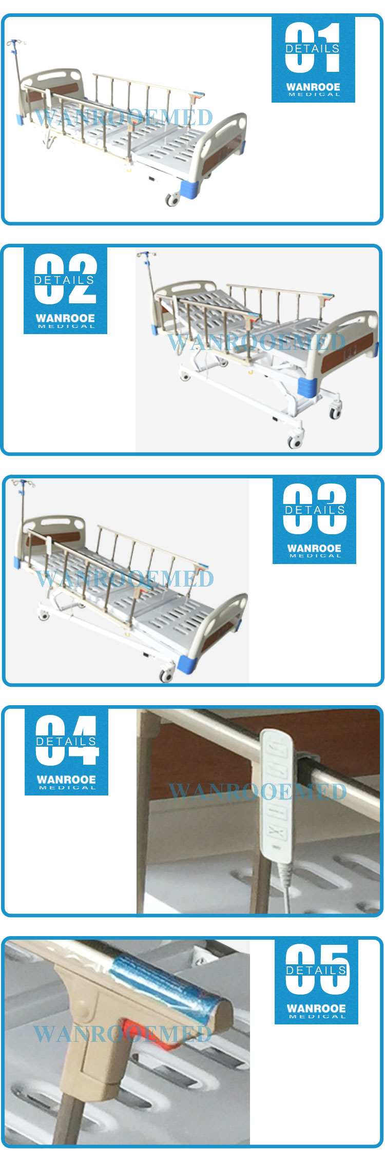 Metal Medical Bed, Hospital Metal Bed, Electric Medical Bed, 5 Function Electric Bed, Hospital Bed With Wheels