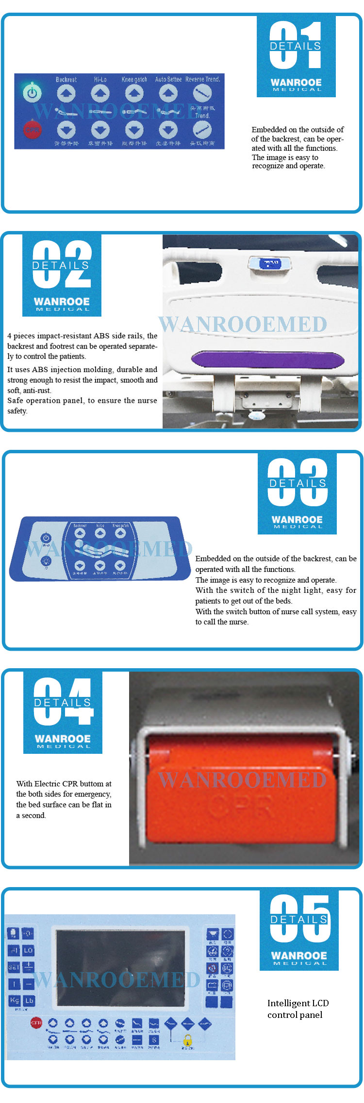 Five Function Electric Bed, Medical Electric Bed, Hostpital Electric Bed, ICU Electric Bed, Rotary Side Rail Hostpital Bed