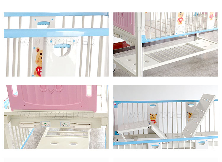 Pediatric Crib, Manual Children Bed, 2 Cranks Children Bed, Manual Pediatric Crib, Hospital Pediatric Bed
