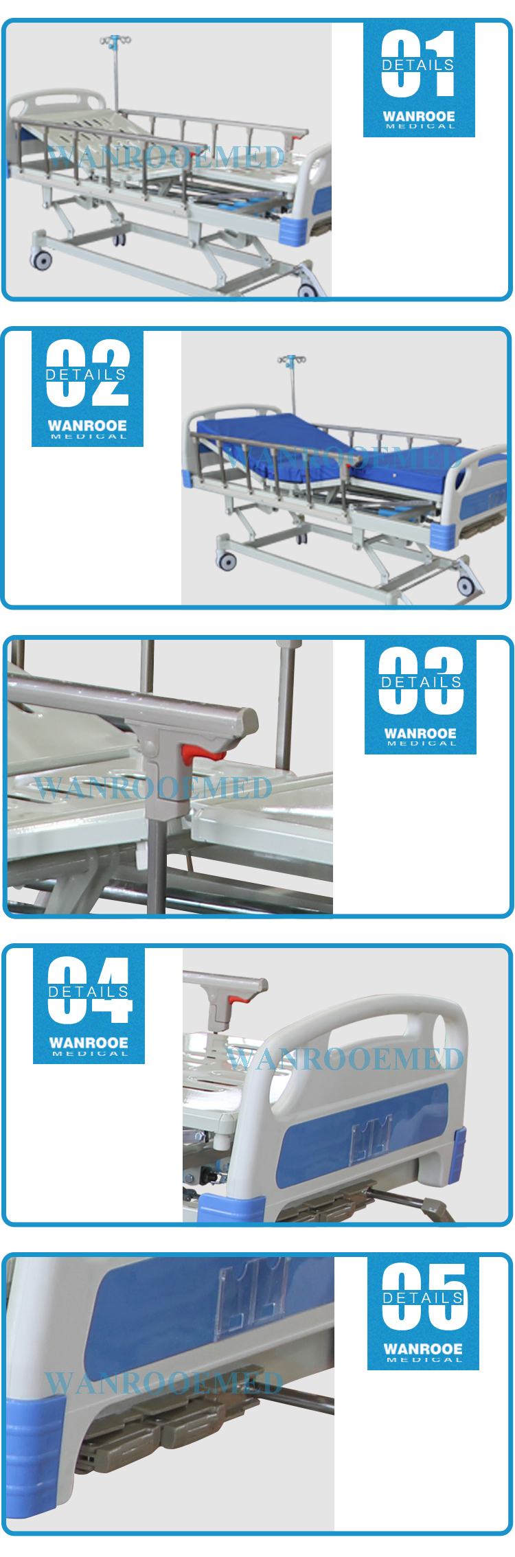 Manual Medical Bed, Manual Hospital Bed, Three Function Medical Bed, 3 Function Hospital Bed, Portable Hospital Bed