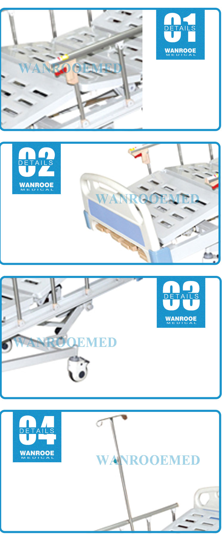 Manual Hospital Bed, 4 Cranks Hospital Bed, 5 Function Manual Bed, Manual Patient Bed, Hospital Patient Bed
