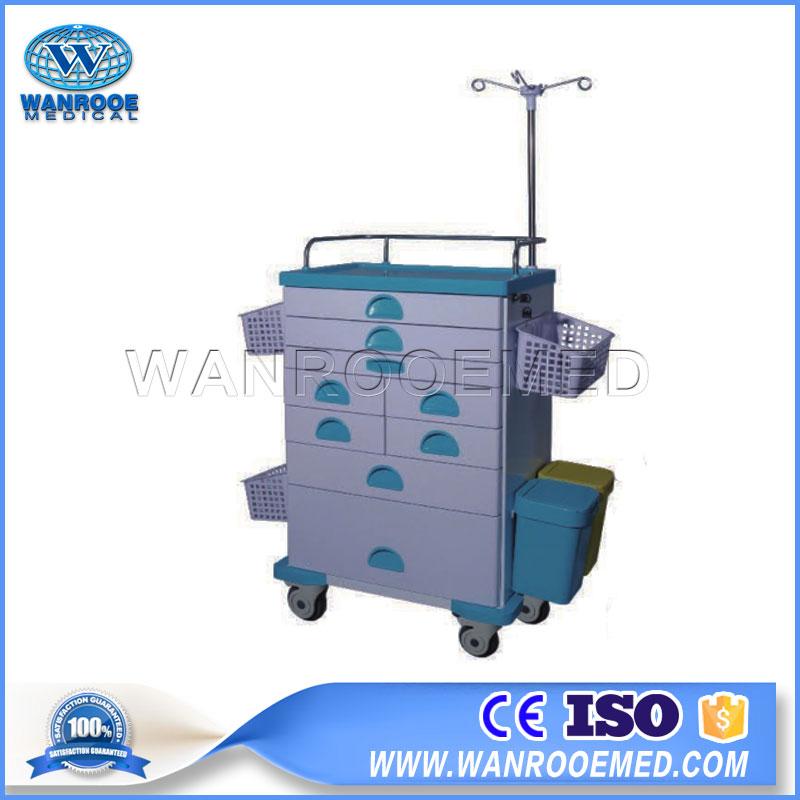 Model 56J Hospital Operation Room ABS Board Medicine Emergency Mobile Trolley Crash Cart