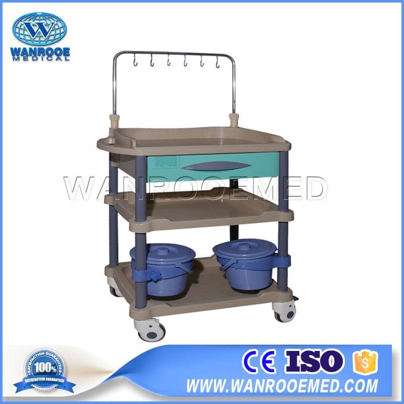 73 Series Hospital ABS Nursing Movable Plastic Medical Trolley Cart
