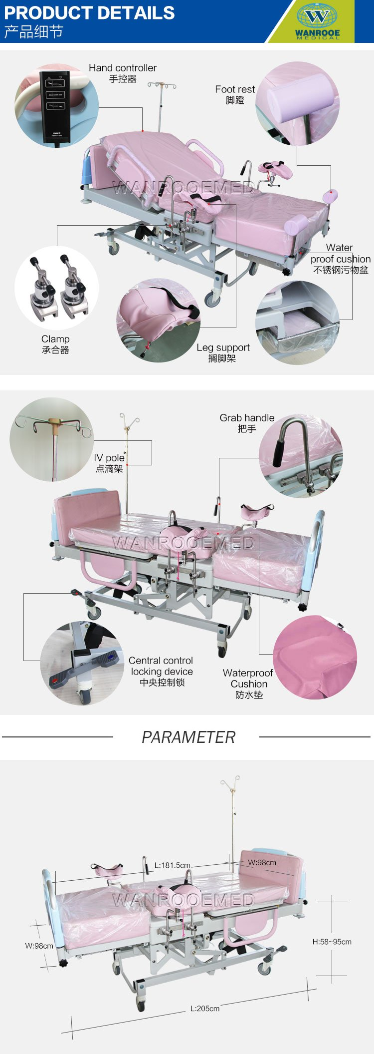 Delivery Bed, Obstetric Delivery Table, Electronic Hospital Delivery Bed, Medical Delivery Table, Birth Bed