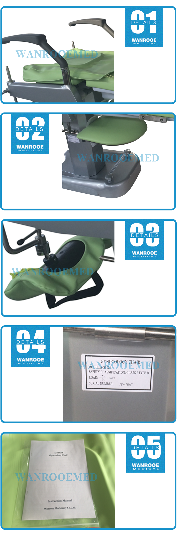 Stainless Steel Gynecology Chair, Gynecology Chair, Examination Chair, Portable Gynecology Chair