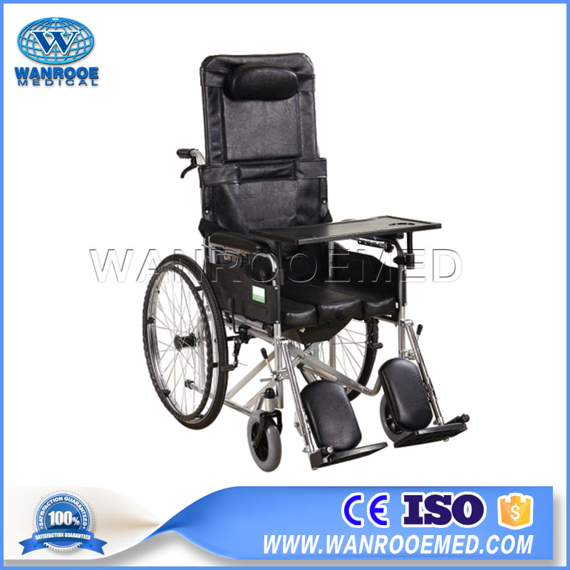 Commode Wheelchair, Manual Shower, High Footrests Wheelchair