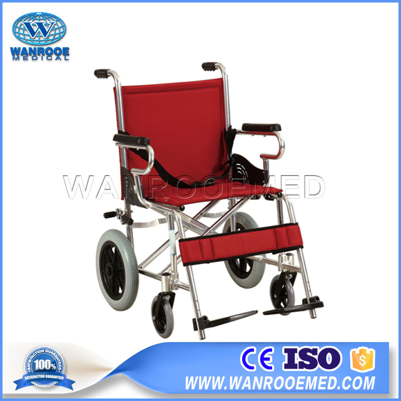 Portable Wheelchair, Foldable Handicapped Wheelchair, Aluminum Lightweight