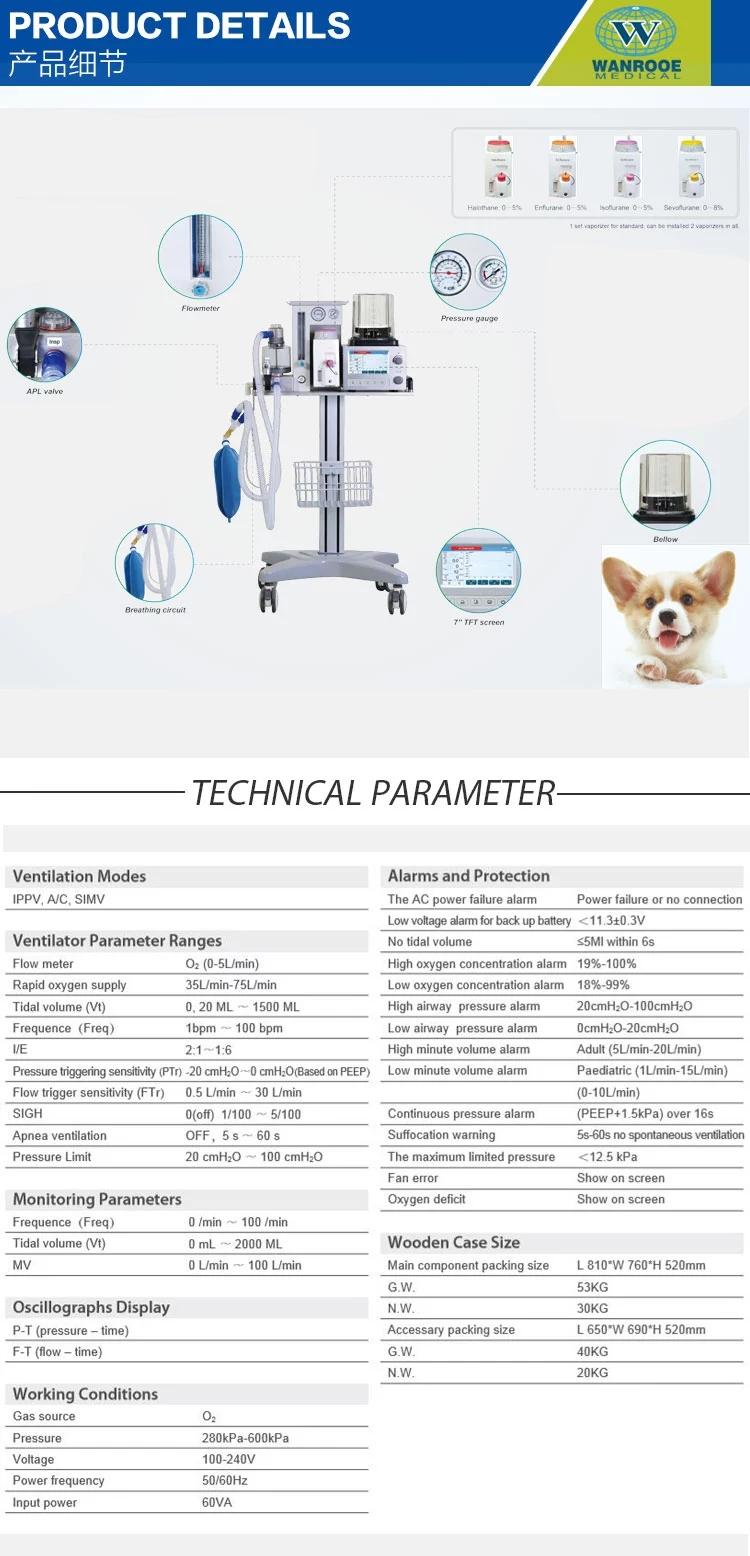 Portable Medical Ventilator, Veterinary Anesthesia Machine, Hospital Ventilator Machine