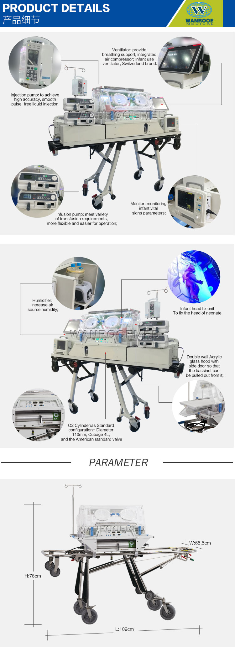 Transport Incubator, Medical Healthcare, Infant Warmer, Baby Incubator, Medical Infant Incubator, Baby Care Infant Incubator