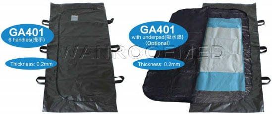 Body Bag With Handles, Funeral Body Bag, Cadaver Bag, Medium Duty Body Bag, PVC Body Bag, Body Bag With Underpad