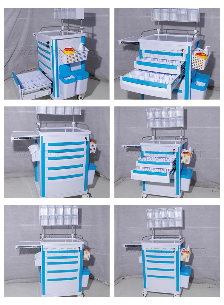 Anesthesia Workstation, Anesthesia Cart, ABS Cart, Anesthesia Trolley With Boxes, Medical Equipment Cart